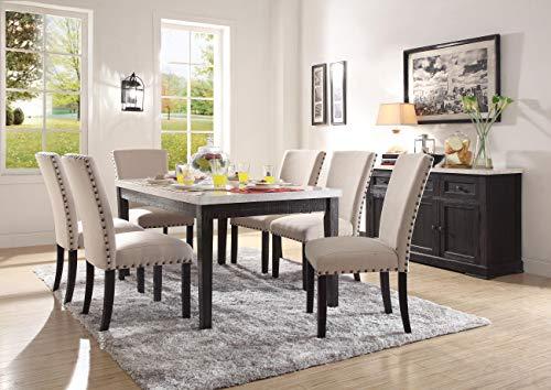 ACME Furniture 72850 Nolan Dining Table, White Marble/Salvage Dark Oak
