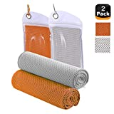 JINGKE Cooling Towel, 2 Packs Neck Cooling Wrap 40'x 12' - Gym Towel for Men and Women, Cold snap Towel for Outdoor Sports, Workout,Swimming,Yoga, Camping, Hiking,Golf, Travel (Orange and Gray)