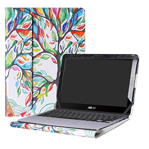 Alapmk Diseñado Especialmente La Funda Protectora de Cuero de PU Para 11.6' ASUS VivoBook Flip 12 TP203NA TP203NA-BP038T TP203NA-BP051T Series Ordenador portátil,Love Tree