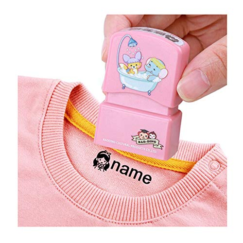 Sello de ropa personalizado,Clothes marker stamp,Juego de sellos personalizados,Sello de nombre autoentintado personalizado,color negro (Pink)