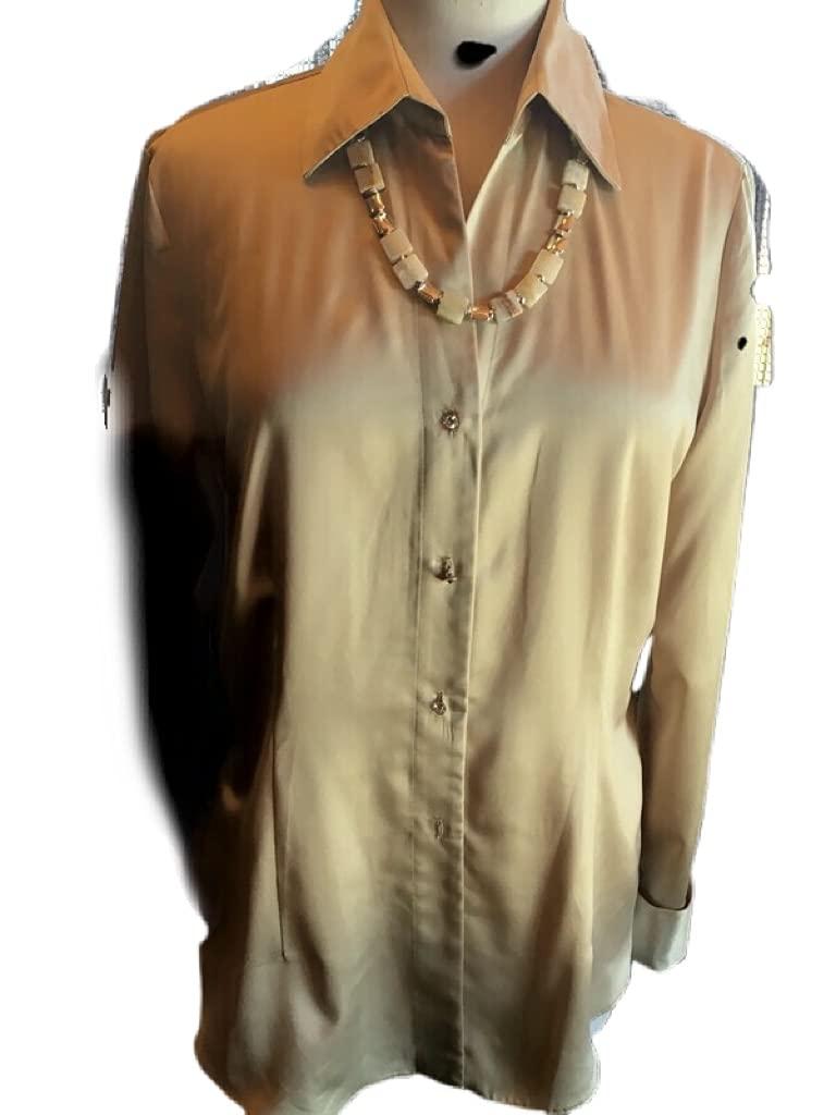 Custom In a popularity Couture L Tan santeen blouse square geometric with tan Rare ne