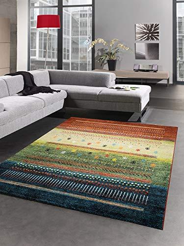 CARPETIA Klassicher Teppich Gabbeh Kelim Kurzflor Teppich bunt rot grün Größe 120x170 cm