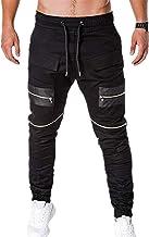 NOBRAND Pantalones casuales para hombre de fitness tejidos con cremallera, pantalones deportivos con pies de viga para hombre