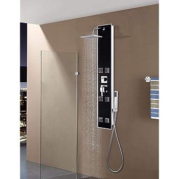 Ulgksd Baño termostático Cascada Lluvia 6 piezas Columna de ducha ...