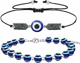 Blue Evil Eye Bracelet Women's Men's Braided Rope Beaded Bracelet Adjustable Friendship Love Protection Bracelet Jewelry