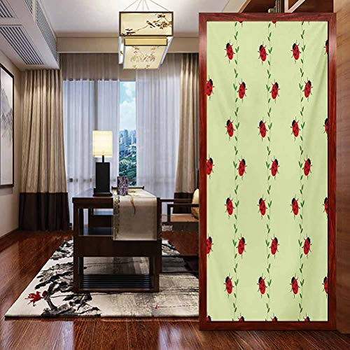 Window Film Stained Glass Stickers, Ladybugs Pattern with Insects Symmetrical Background Li, Home Glass Film for Bathroom Meeting Living Ro, W23.6xH78.7 Inch