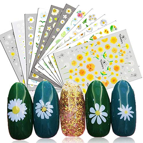 Nail Art Stickers 12 Sheet 3D Self-Adhesive Nail Decals Sunflower Small Daisies Flowers Mix DIY Design Decoration Accessories for Girl