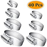 Selizo 40Pcs Hose Clamp Including 7 Sizes Adjustable Pipe Tube Clamps 304 Stainless Steel Hose Clips