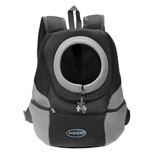 Papipet Pet Carrier Backpack, Dogs Cats Backpacks with Breathable Head Out Design Pet Bag for Small Dogs Puppy Travel Hike Bike Outdoor