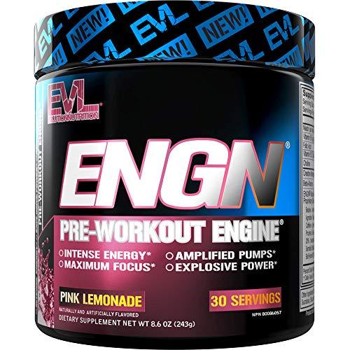 Evlution Nutrition ENGN Pre-Workout, Pikatropinfrei, 30 Portionen, intensives Pre-Workout Pulver für mehr Energie, Power und Fokus (Pink Lemonade)