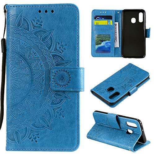 HTDELEC Étui Galaxy A20e Bleu Coque, Housse en Cuir Premium Flip Case Portefeuille Etui avec Stand Support et Carte Slot Samsung Galaxy A20e(T-Bleu)