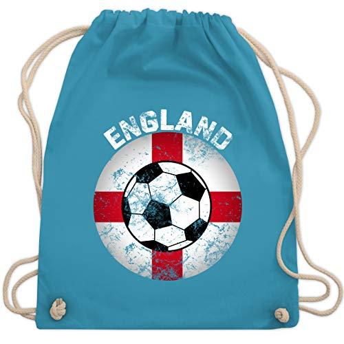 Shirtracer Fußball-Europameisterschaft 2020 - England Fußball Vintage Kreis - Unisize - Hellblau - Nationalmannschaft - WM110 - Turnbeutel und Stoffbeutel aus Baumwolle