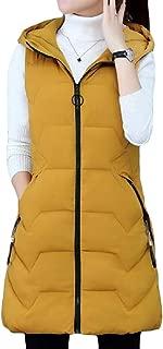 Women's Solid Sleeveless Zipper Hooded Long Vest Coats Jackets Zip Up Outwears