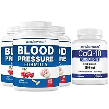 [Cardio Health Value Pack] Longevity Blood Pressure Formula 150 caps x 3 Bottles with 1 Free Bottle of CoQ10 [30 Veggie caps]