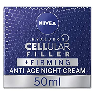 NIVEA Hyaluron Cellular Filler Anti-Age Night Cream, Anti Ageing Cream with Hyaluronic Acid and Magnolia Extract, Moisturising Wrinkle Reducer and Skin Firmer, 50 ml