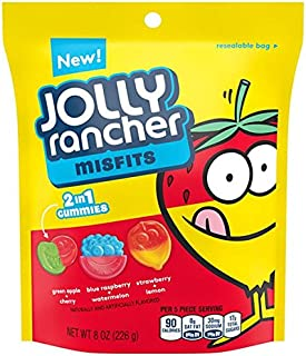 Jolly Rancher Misfits 2 in 1 Gummies Candy 8 oz Resealable bag - Pack of 6
