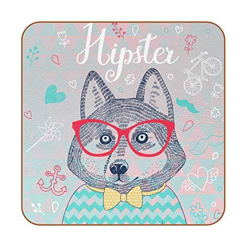 Husky Hipster - Posavasos de piel sintética para bebidas, 6 unidades, cuadrados para bebidas, posavasos para el hogar o el bar, regalo de inauguración de la casa