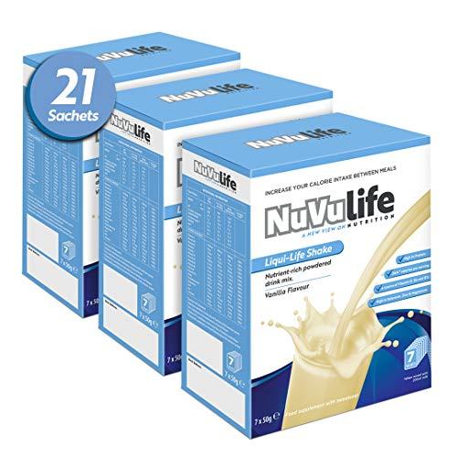NuVu Life, High Calorie, High Protein, Weight Gain Shake 21 x 50g Sachets/Servings - Vanilla