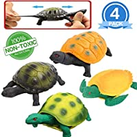 Turtle Toys,5 Inch Rubber Tortoise Turtle Sets(4 Pack),Great Safety Material TPR Super Stretchy,Can Hide in Shell,Zoo World Sea Ocean Animal Bathtub Bath Pool Toy Party Favors Boys Kids [並行輸入品]