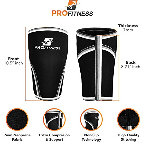 Knee Sleeve (Pair) Squat Knee Support & Compression for Powerlifting, Weightlifting, Cross Training WOD, Bodybuilding – Extra Thick 7mm Neoprene Knee Sleeves (Black, Medium)