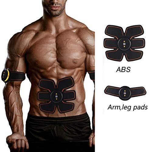 Jingfude Elettrostimolatore EMS ABS Muscoli Tonificante Cintura Home Fitness, per Uomini e Donne Addome Braccio Gambe Waist Massaggi Attrezzi, USB Ricaricabile