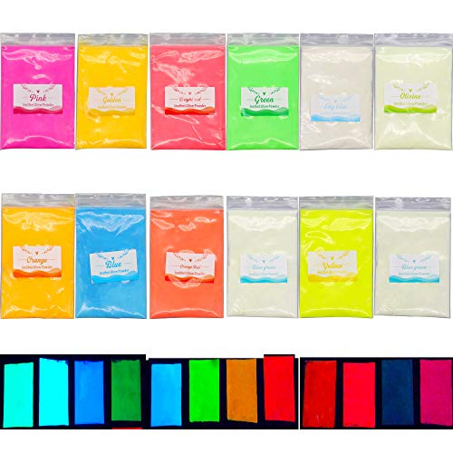 Glow in The Dark Pigment Powder,12 Colors Resin Dye Luminous Powder for Epoxy Resin,Acrylic Paint,Slime,Nails,Halloween Party, Fine Art & DIY Crafts,Non-Toxic,Skin Safe, Long Lasting(0.35oz/Each)