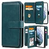 Blllue - Custodia a portafoglio compatibile con Xiaomi Poco M3, in pelle PU, tinta unita, con 10 scomparti per carte di credito per Poco M3, colore: Verde scuro
