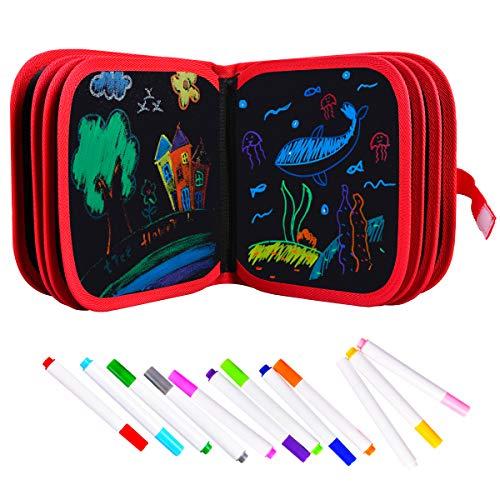 Upgrow Innovative Tafel, Malbuch für Kinder Wiederverwendbares Malbuch Graffiti-Zeichenbrett für Kinder Doodle pad Innovatives Mal- und Zeichenbrett Tafel mit 12 Stiften zum Schreiben und Zeichnen