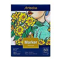 Artecho マーカーパッド アーティストペーパーパッド 半透明 ペン 鉛筆とマーカー 折り重ね 18ポンド 9 x 12インチ ホワイト 50枚