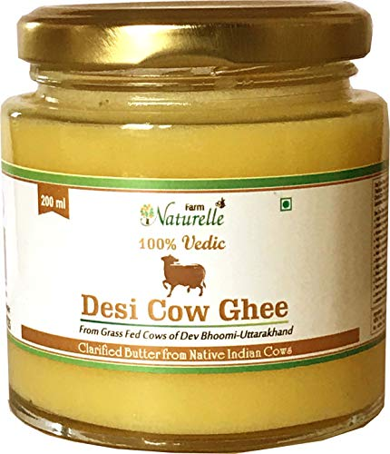 Farm Naturelle Desi Cow Ghee - 100 % Pure Ghee From A2 Milk - 200 ML (6.76oz)