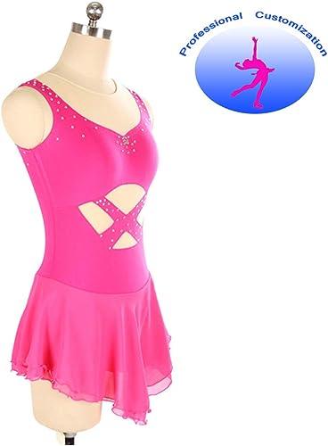 Compétition De Patinage sur Glace pour Filles Robe De Gymnastique Rythmique Courte Robe De Crosse Rose à La Main Patinage Wear