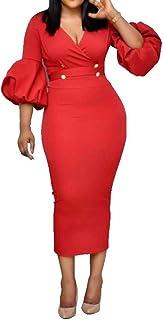 VERWIN V Neck Three-Quarter Sleeve Lantern Sleeve Lace-Up Plain Women's Maxi Dress Bodycon Dress