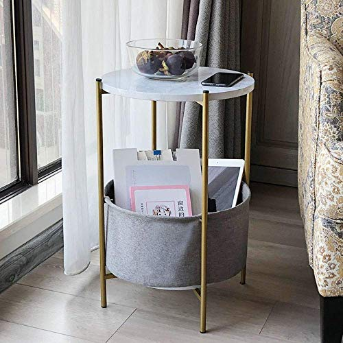 Gut Tv-lamp, telefoontafel, bijzettafel, eikentafel, woonkamer, salontafel, rond, telefoontafel, opbergmand, bijzettafel, grijze stof 15,2 x 21,9 inch, c, MK B