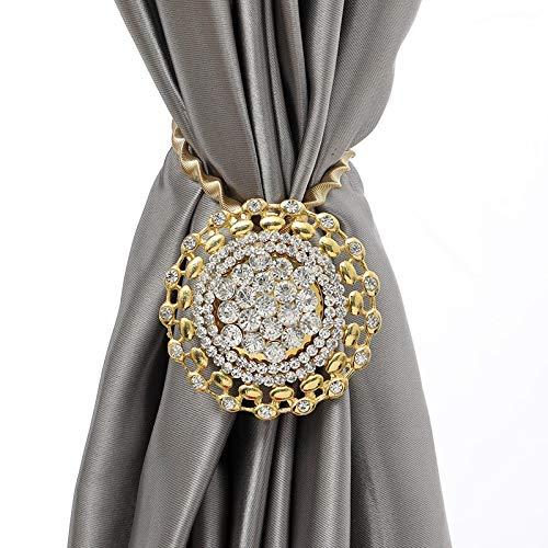 2pcs resorte elegante cortina de Tieback diamantes de imitación de las flores del sostenedor del clip de hebilla de la cortina de ducha magnética cortina que cuelga de Accesorios Cuerdas para cortinas