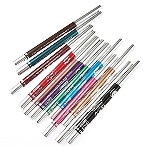 SHINA 12 couleur Pen Eyeliner Noir Waterproof, Crayon Automatique beauté Maquillage professionnel cosmétiques