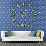 BBNNN Joueur de Football américain Bricolage Grande Horloge Murale Rugby Fan Sports Frameless géant Mur Montre 3D Miroir Effet Wall Sticker