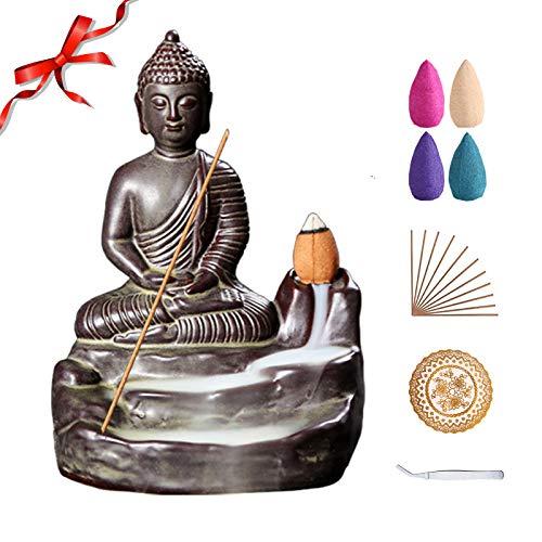 Buddha Backflow Incense Burner Handmade Ceramic Incense Holder for Home Decor Gift Decorations Statue Ornaments with 80 Backflow Incense Cones, 50 Incense Sticks, Incense Burner Pad, Tweezers (Brown)