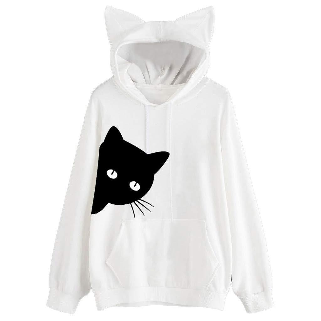 security lotus.flower Womens Cat Print Long Hood Sweatshirt Hoodie Sleeve Safety and trust