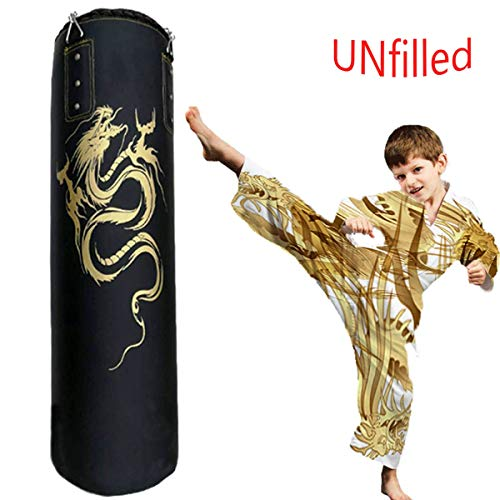 HATHOR-23 Kampfkunst Muay Thai Taekwondo Ausbildung Boxen Boxsack, Hohl Ungefüllt Erwachsene Hängend Stanzen Tasche, PU Leder, 47 Zoll (Size : 100cm)