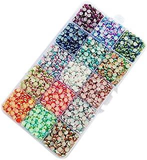 Chenkou Craft 18000pcs Assorted 15 Colors Gradient Color Half Flatback Imitation Pearl Bead 3mm Flat Back Gem Scrapbook Cr...