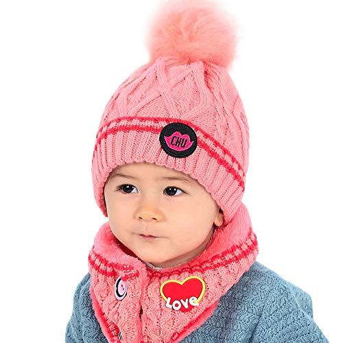 Fuibo Baby Mütze Schal Set, Baby Kind Beanie Mädchen Kappen Halstuch Strickte Winter Schal warme Kinderhüte | Baby Mütze Beanie Keep Warm Hut Strickmützen (Pink)