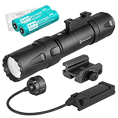 OLIGHT Odin Black 2000 Lumen Rechargeable Quick Release Rail Mount Tactical Flashlight with Two 5000mAh Batteries, Pressure Switch, and LumenTac Battery Case