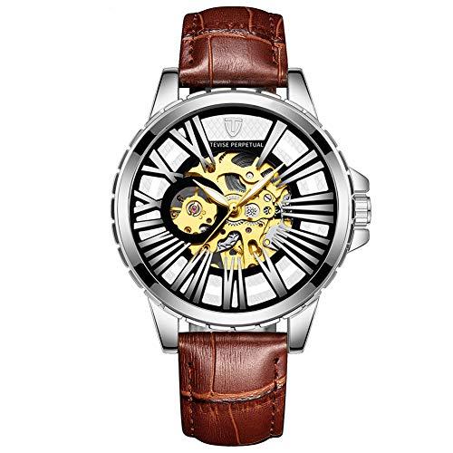ZBHWYD Relojes automáticos, Relojes mecánicos de Acero Inoxidable automáticos para Hombres, Relojes mecánicos, Relojes automáticos, con Correas de Cuero, cómodo para Usar (Hombres y Mujeres),Marrón