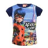 Miraculous LadyBug Cat Noir - T-Shirt Camiseta - para niña - 4714ES [Azul - 4 años - 104 cm]