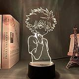 GEZHF 3D ilusión LED noche lámpara de los niños 3D acrílico noche lámpara anime oficina noche lámpara Killy figura Hunter X Hunter para la habitación noche luz