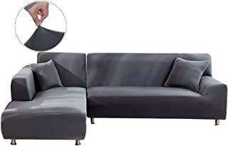 WOMACO L Shape Sofa Covers Sectional Sofa Cover 2 pcs Stretch Sofa Slipcovers for L-Shape Couch (L-Shape 3+3 Seats, Dark Gray)