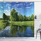 Lake House Decor-Kollektion, dekorative Landschaft mit Seebäumen & Gras & Reflexion im Wasser, Polyester-Stoff, Badezimmer-Duschvorhang, 183 x 183 cm, grün-blau
