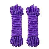 SUMMERWY Soft Rope Cord, 2Pcs 10 M/33 Feet 8 MM All Purpose Cotton Rope Craft Rope Thick Cotton Cord (2purple)