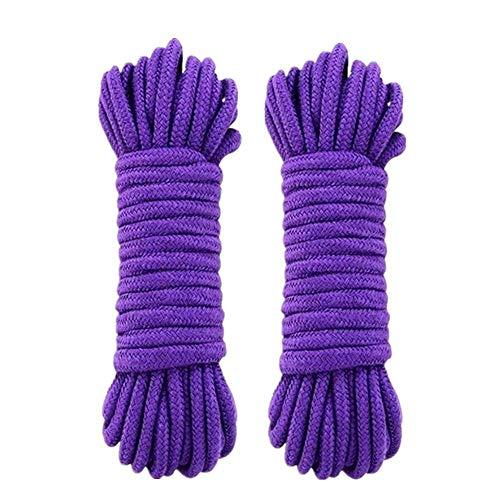 WYMAODAN Corda in cotone morbido, 2 pezzi 10 M / 33 piedi 8 mm Corda multiuso Corda artigianale Cordoncino in cotone spesso intrecciato (Viola)
