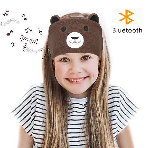 Laelr Hoofdband voor kinderen, draadloze Bluetooth hoofdband headset met geïntegreerde microfoon spraakmuziek slaapoogmasker voor reizen en slapen